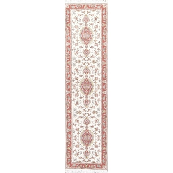 """Copper Grove Sotira Floral Tabriz Hand-knotted Persian Rug For Hallways - 11'4"""" x 2'10"""" runner"""