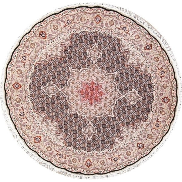 Fine Round Persian Bidjar Area Rug Hand Knotted Wool And: Shop Geometric Tabriz Wool Hand Knotted Persian Round Area