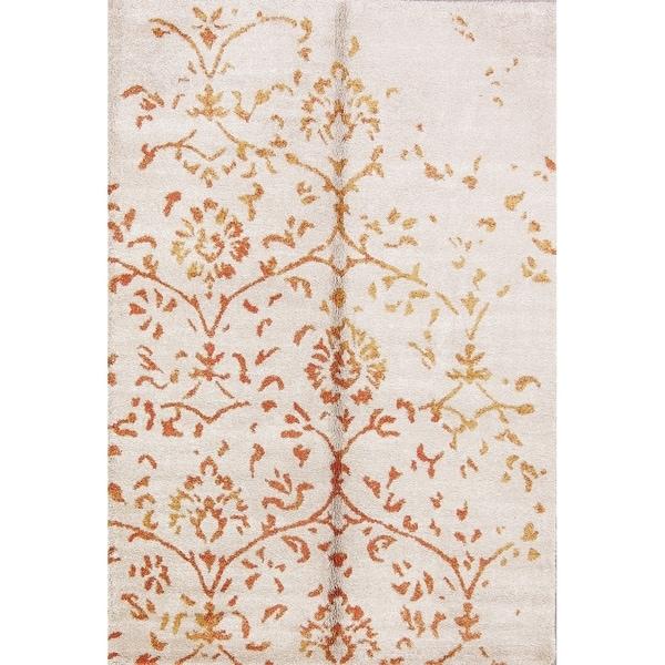 "Floral Belgian Oriental Area Rug Beige For Bedroom Wool - 5'2"" x 7'5"""