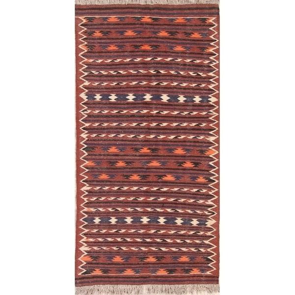 Shop Hand Woven Geometric Kilim Shiraz Persian Wool Rug