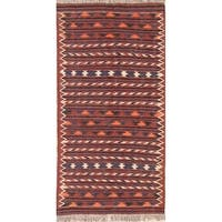 "Gracewood Hollow Nassar Woven Blend Shiraz Woven Geometric Kilim Shiraz Persian Rug - 6'2"" x 3'2"" runner"