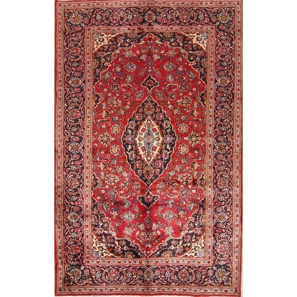 "Hand Knotted Wool Floral Persian Carpet Area Rug For Living Room - 9'10"" x 6'5"""
