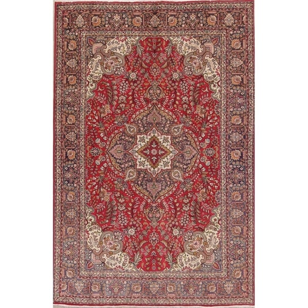 "Vintage Hand Made Wool Oriental Tabriz Persian Dining Room Area Rug - 9'11"" x 6'7"""