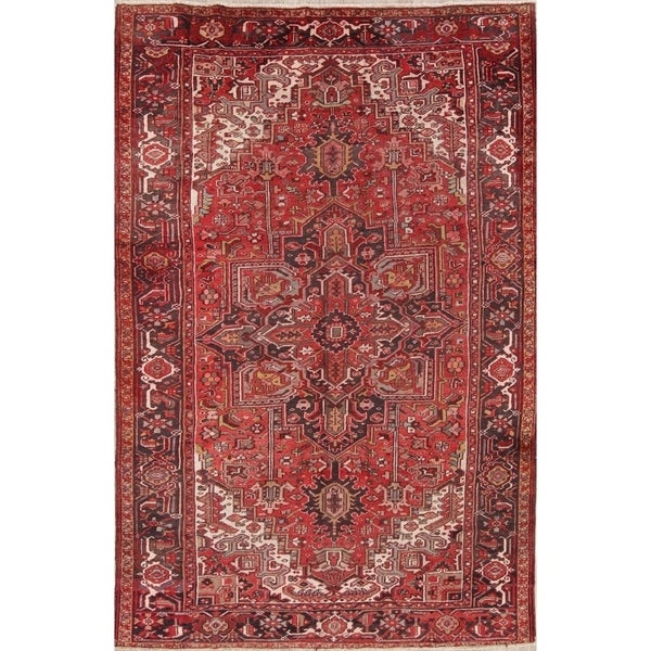 "Hand Knotted Woolen Oriental Heriz Persian Area Rug Carpet - 11'8"" x 7'9"""