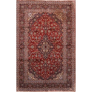 """Hand Knotted Traditional Floral Persian Red Wool Area Rug - 9'9"""" x 6'4"""""""