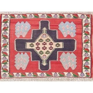"Hand Woven Flat-Weave Kilim-Senneh Persian Oriental Wool Area Rug - 2'0"" x 2'11"""