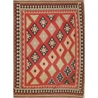 "Hand Woven Geometric Wool Tribal Kilim Shiraz Persian Carpet Area Rug - 8'8"" x 6'5"""