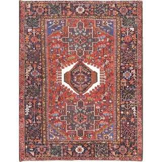 """Vintage Hand Knotted Woolen Oriental Gharajeh Persian Foyer Area Rug - 6'4"""" x 4'8"""""""