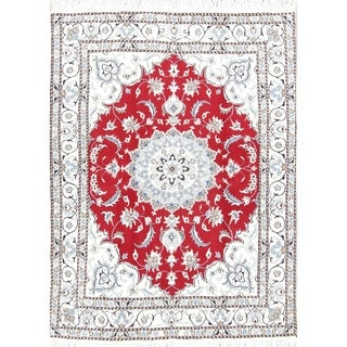 """Floral Nain Handmade Persian Wool Area Rug For Dining Room - 6'2"""" x 4'9"""""""