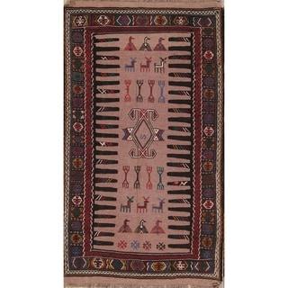 "Hand Woven Tribal Geometric Kilim Shiraz Persian Wool Area Rug - 6'2"" x 3'5"""