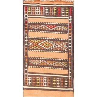 Handmade Woolen Geometric Kilim Oriental Runner Rug For Dining Room - 4' 7'' x 2' 3''