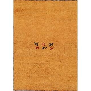 "Handmade 100% Wool Gabbeh Shiraz Persian Solid Carpet Area Rug - 3'8"" x 2'7"""