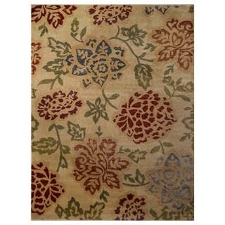 "Floral Machine Made Belgian Oriental Area Rug Brown For Bedroom Wool - 1' 9"" x 3' 0"""
