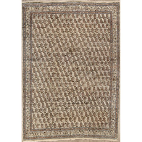 "Hand Knotted Paisley Persian Vintage Wool Area Rug - 12'3"" x 8'9"""