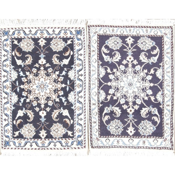 Shop Hand Knotted 100 Wool Floral Nain Persian Carpet Area Rug 2