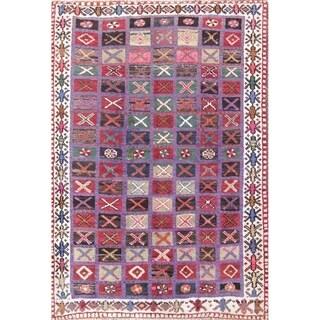 "Vintage Hand Made Wool Oriental Gabbeh Shiraz Persian Carpet Area Rug - 6'1"" x 4'3"""