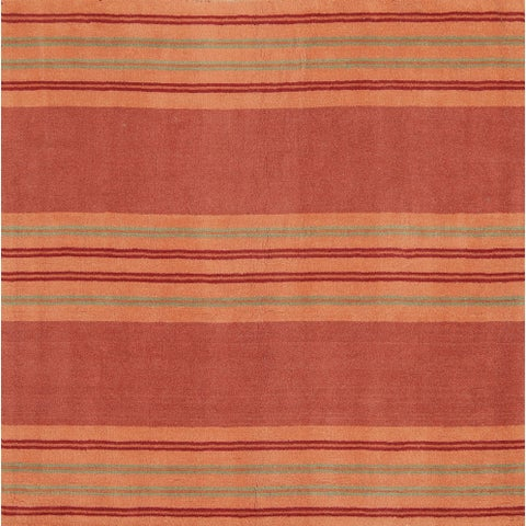 Porch & Den Thorville Hand-tufted Striped Wool Contemporary Oriental Area Rug - 6'5 square