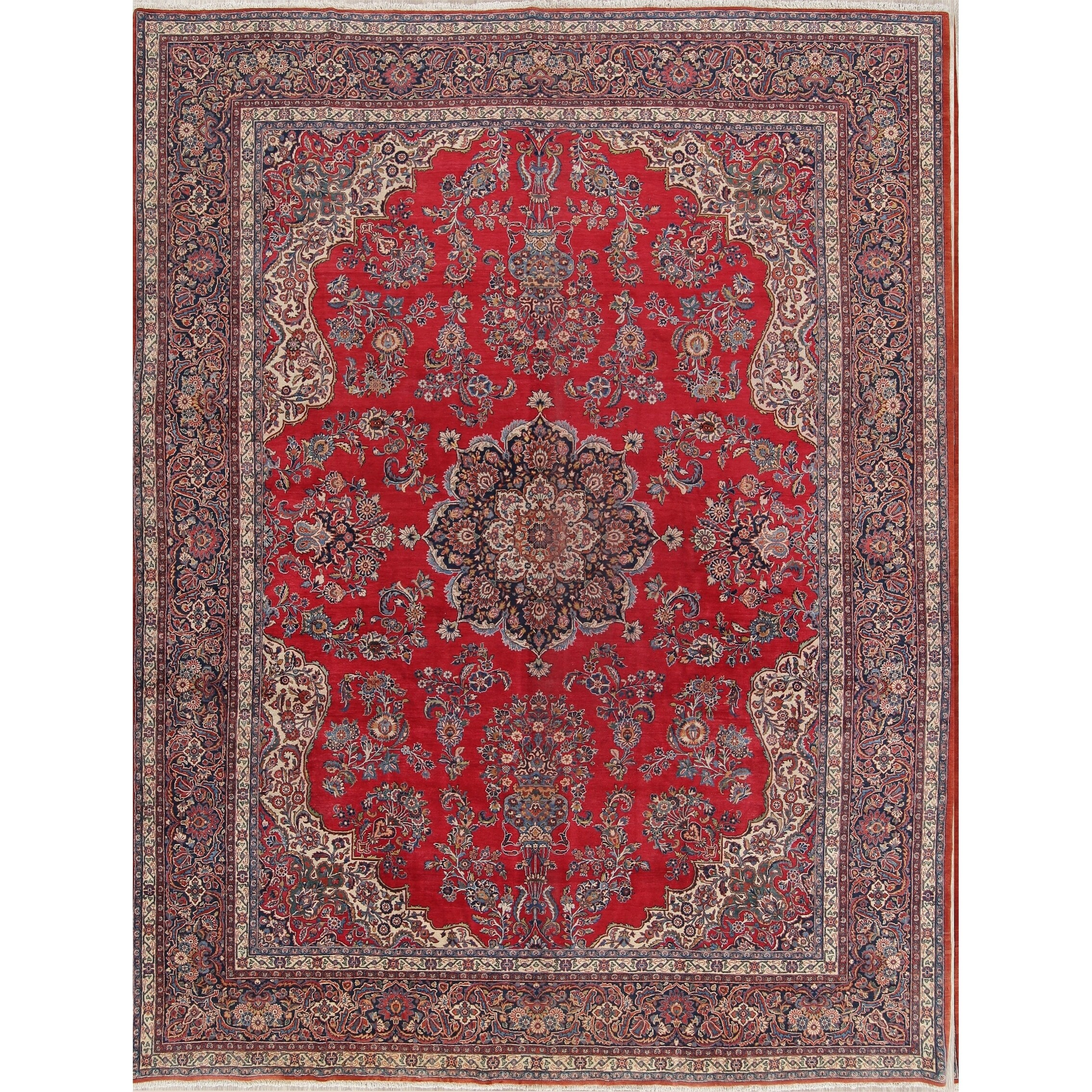 Antique Handmade Wool Floral Kork Dabir Persian Carpet Area Rug 13 8 X 10 1