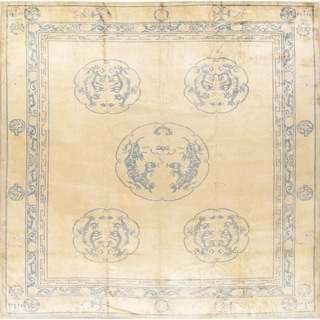 """Hand Knotted Floral Dragon Art Deco Chinese Oriental Antique Area Rug - 12'9"""" x 10'9"""""""