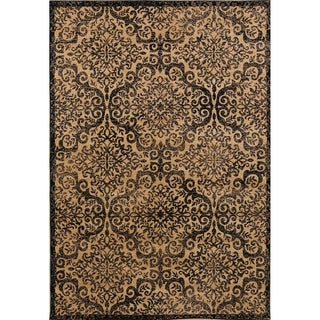 "Geometric Floral  Belgian Oriental Area Rug Brown Wool - 5'2"" x 7'3"""