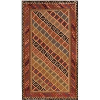 "Hand Woven Woolen Geometric Tribal Kilim Qashqai Persian Area Rug - 9'6"" x 5'8"""