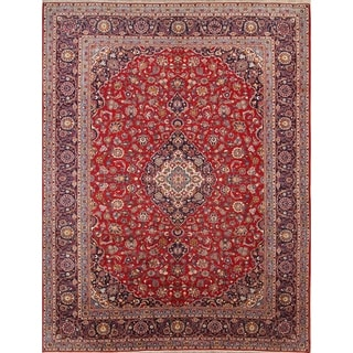"Hand Made Traditional Floral Persian Red Vintage Wool Area Rug - 13'3"" x 10'1"""