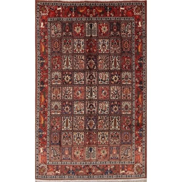 Vintage Handmade Wool Floral Bakhtiari Persian Dining Room Area Rug