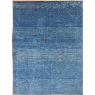 Handmade Wool Thick Pile Blue Gabbeh Shiraz Persian Solid Area Rug - 7' 8'' x 5' 8''