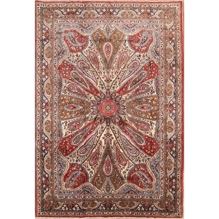 "Vintage Hand Knotted Wool Floral Sarouk Persian Carpet Area Rug - 10'6"" x 7'3"""