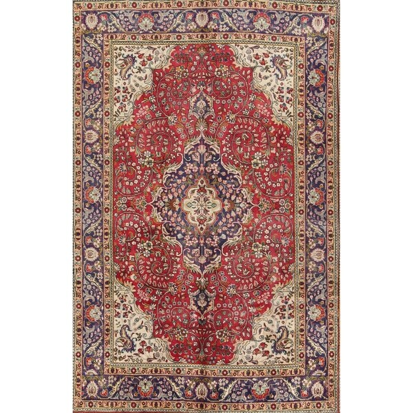 Vintage Handmade Wool Floral Tabriz Persian Area Rug For Dining Room