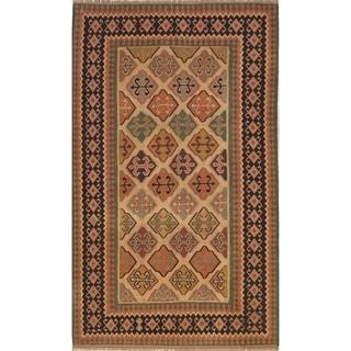 "Hand Woven Oriental Kilim (Kashkoli) Shiraz Persian Wool Area Rug - 9'6"" x 5'6"""