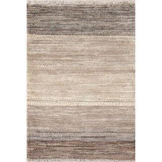 "Handmade Striped Gabbeh Shiraz Zolanvari Persian Modern Wool Area Rug - 3'10"" x 2'9"""