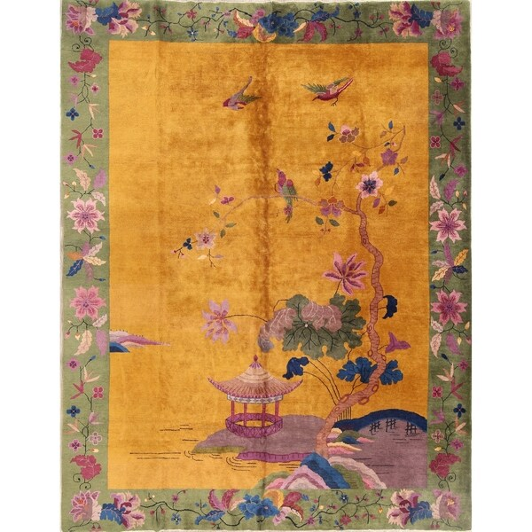 Shop Floral Art Deco Chinese Handmade Antique Oriental Area Rug 11