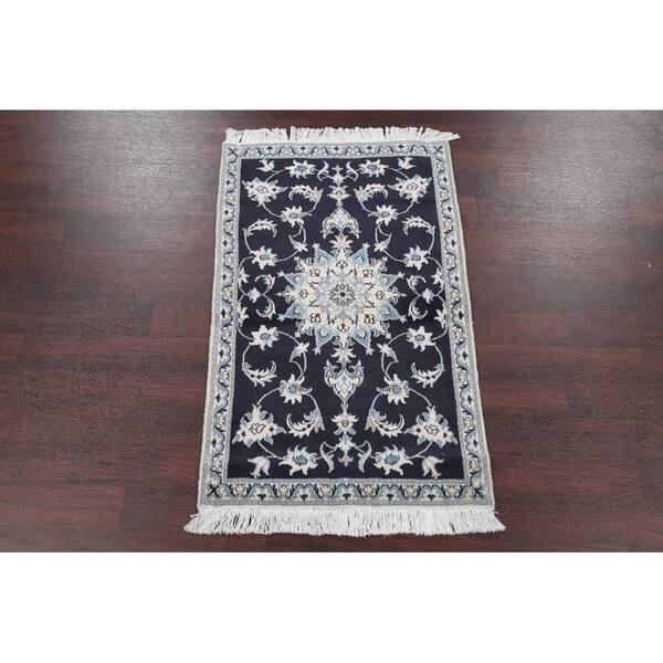 Navy Blue Fl Nain Persian Carpet