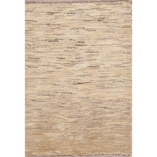 """Hand Knotted Wool Solid Gabbeh Zolanvari Shiraz Persian Area Rug - 3'11"""" x 2'10"""""""