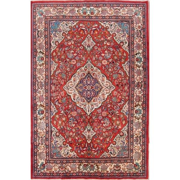 Shop Vintage Hand Made Wool Floral Sarouk Persian Area Rug