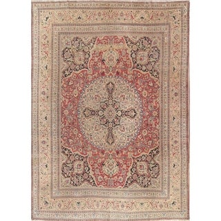 "Handmade Wool Medallion Kerman Ravar Lavar Persian Antique Area Rug - 13'3"" x 9'10"""