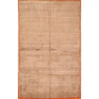 """Hand Knotted Solid Gabbeh Shiraz Modern Persian 100% Wool Area Rug - 6'1"""" x 3'9"""""""