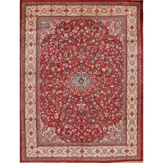 Hand Knotted Wool Antique Floral Sarouk Persian Rust Red Area Rug - 14' 2'' x 10' 10''