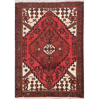 "Handmade Wool Geometric Hamedan Persian Tribal Carpet Area Rug - 4'7"" x 3'4"""
