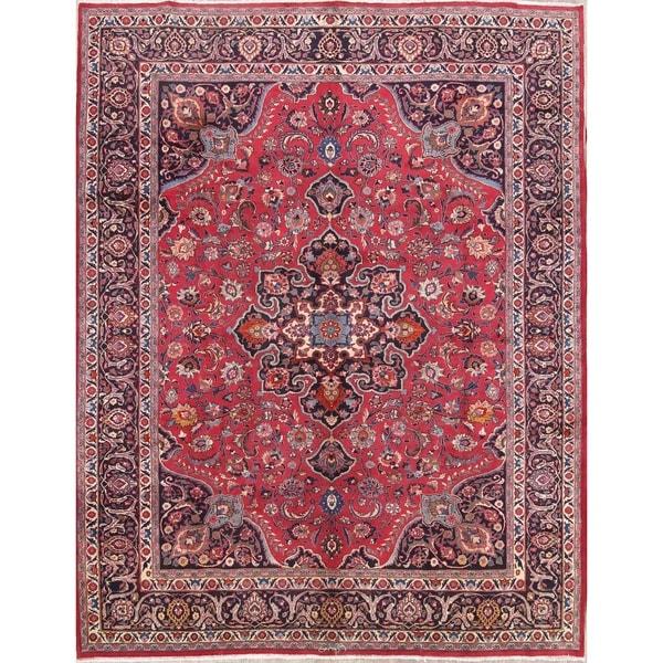 100 Wool Persian Area Rug: Shop Handmade Floral Mashad Persian Vintage Wool Area Rug