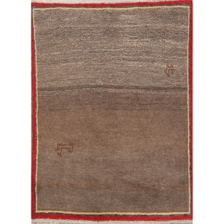 """Hand Knotted Wool Solid Gabbeh Shiraz Persian Carpet Area Rug - 4'6"""" x 3'5"""""""