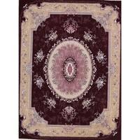 Gracewood Hollow Achemian Wool Blend Floral Tabriz Tabriz Rug - 13'2 x 9'10