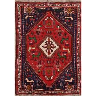 "Handmade Animal Pictorial Print Shiraz Persian 100% Wool Area Rug - 5'5"" x 3'10"""