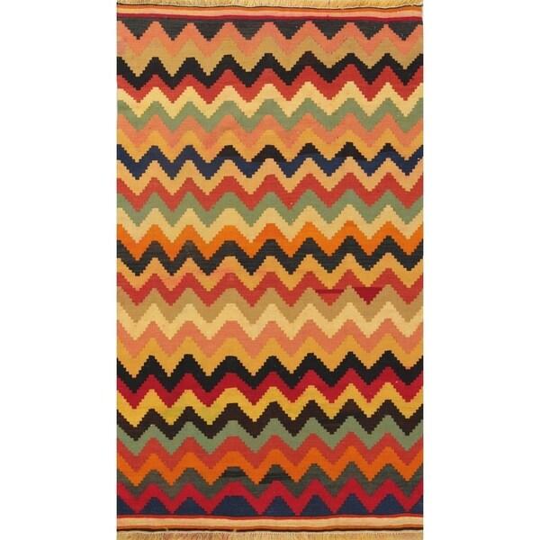 Camel Wool Rug Persian Rug Handwoven Kilim Area: Shop Hand Woven Wool Striped Kilim Shiraz Persian Carpet