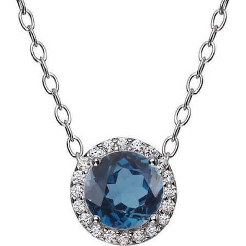 """Sterling Silver with natural London Blue Topaz Halo Pendant with 18"""" Chain"""