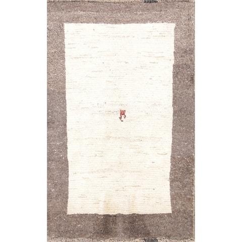 "Handmade Wool Thick Soft Plush Solid Gabbeh Shiraz Persian Area Rug - 4'11"" x 3'1"""