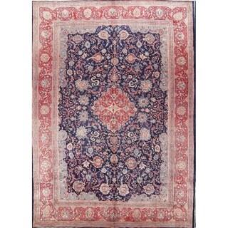 "Antique Handmade Wool Floral Sarouk Persian Area Rug For Livingroom - 14'3"" x 10'0"""