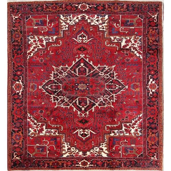 Vintage Persian Heriz Design Wool Area Rug: Shop Vintage Hand Made Wool Oriental Heriz Persian Carpet