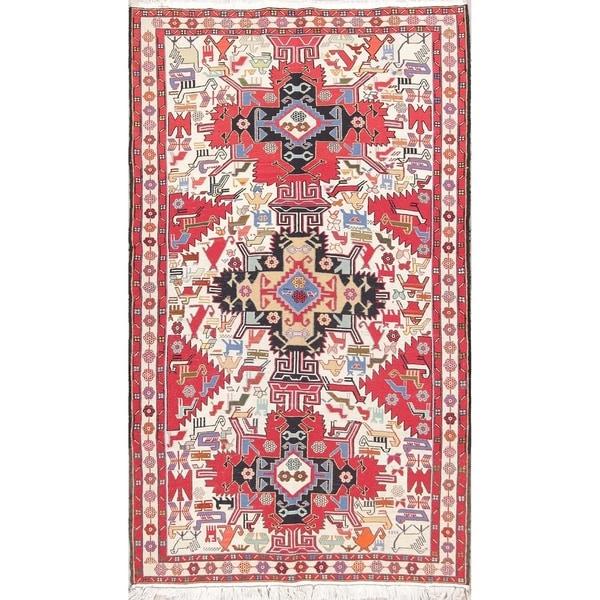 Camel Wool Rug Persian Rug Handwoven Kilim Area: Shop Hand Woven Wool Geometric Pictorial Kilim Sumak
